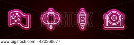 Set Line China Flag, Chinese Paper Lantern, And Gong. Glowing Neon Icon. Vector