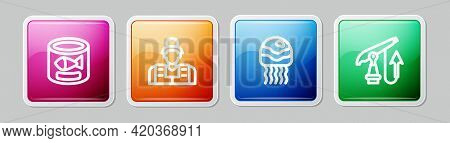 Set Line Canned Fish, Fisherman, Jellyfish And Fishing Harpoon. Colorful Square Button. Vector
