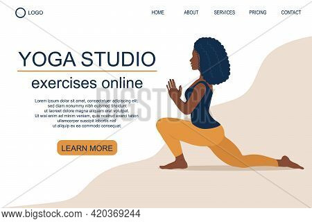 Web Page Template Of Yoga Studio, School. Beautiful Black Woman Does Exercise, Yoga Pose. Modern Des