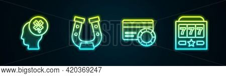 Set Line Casino Slot Machine With Clover, Horseshoe, Credit Card And Slot Jackpot. Glowing Neon Icon