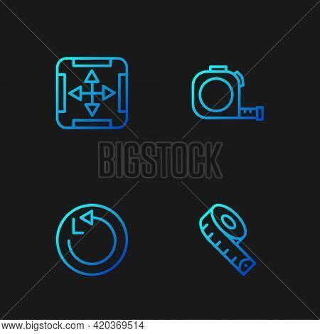 Set Line Measuring Tape, Radius, Area Measurement And Roulette Construction. Gradient Color Icons. V