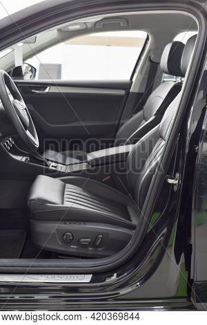 Russia, Izhevsk - September 25, 2020: Skoda Showroom. Interior Of New Car Business Class Superb. Vol