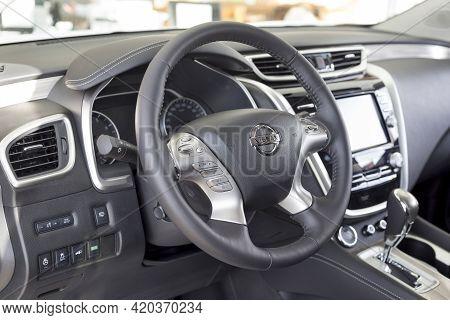 Russia, Izhevsk - February 19, 2021: Interior Of New Modern Murano Car In Nissan Showroom. Famous Wo