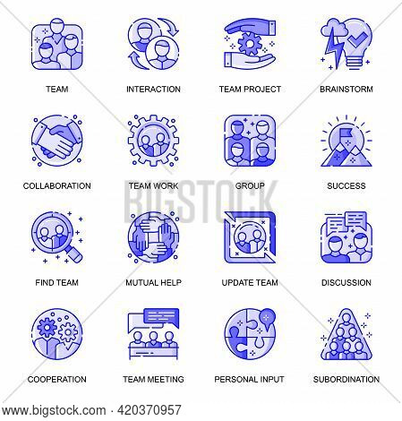 Teamwork Web Flat Line Icons Set. Pack Outline Pictogram Of Team Project, Brainstorm, Collaboration