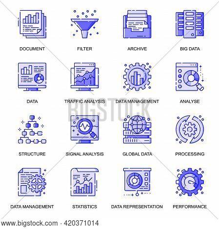 Data Analysis Web Flat Line Icons Set. Pack Outline Pictogram Of Global Data, Management, Representa