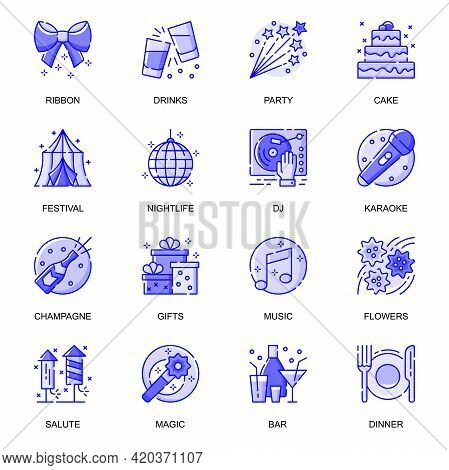 Party Event Web Flat Line Icons Set. Pack Outline Pictogram Of Decorations, Celebration Holiday, Gif