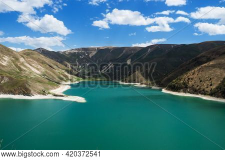 Mountain lake Kezenoyam. Border of the Republic of Chechnya and the Republic of Dagestan, Russia.