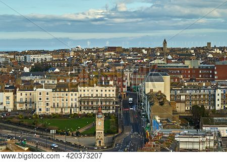 Margate, United Kingdom - February 5, 2021: The View From Arlington House In Margate Towards Old Tow