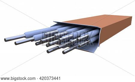 Welding Electrodes Pack, Isolated Concept Industrial 3d Illustration