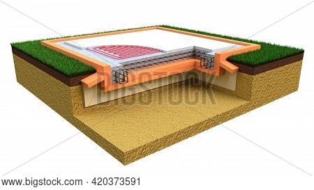 Insulated Reinforced Concrete Slab Base, Isolated Industrial 3d Rendering