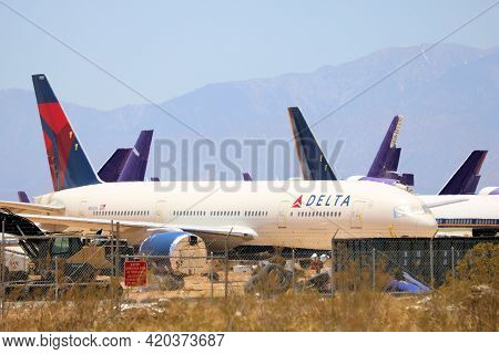 May 12, 2021 In Victorville, Ca:  Modern 777 Aircraft Stored In The Victorville, Ca Airplane Graveya