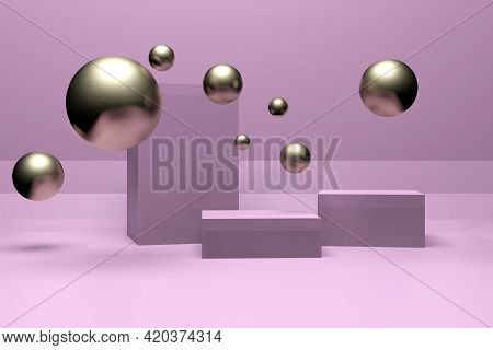 Abstract Minimal Scene With Geometrical Forms. Square Podiums In Soft Pink Colors. Mock Up Scene To