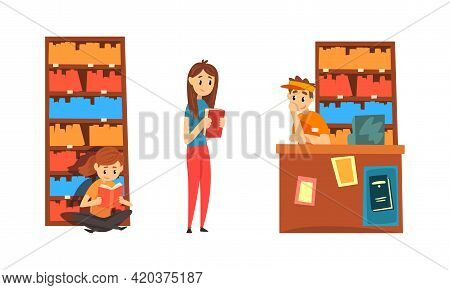 Students Taking And Reading Books In Library, People Choosing And Bying Book In Bookstore Cartoon Ve