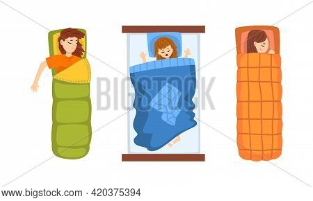 Girls Sleeping In Their Beds Set, View From Above Of People Resting At Night Cartoon Vector Illustra