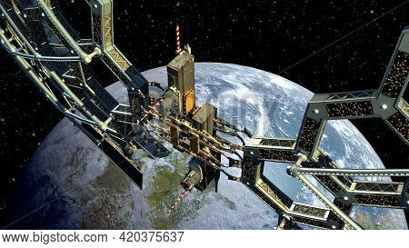 3d Illustration Of A Honeycomb Geodesic Structure Near Earth, For Science Fiction Video Games, Space