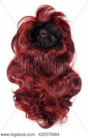 Female Long Curly Red Wig Isolated On White Background. Red Hair Weaves, Extensions And Wigs. Hairst