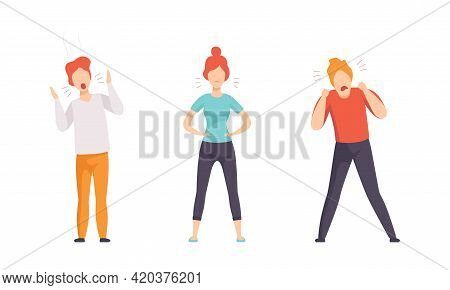 Angry Furious People Set, Indignant Aggressive Male And Female Characters Shouting, Arguing And Gest