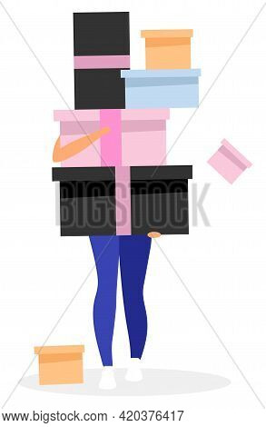 Buying Presents Flat Vector Illustration. Girl Hidden Behind Pile Of Gift Boxes. Woman Receiving Man