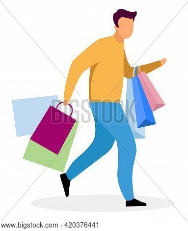 Shopping Rush Flat Vector Illustration. Shopper Running In Haste With Bags Cartoon Character. Boyfri