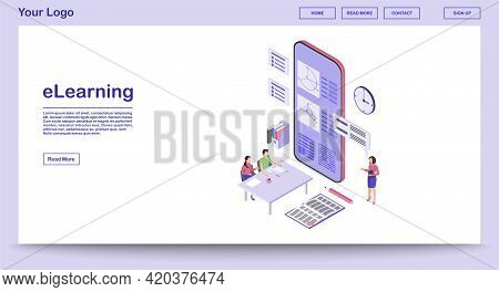 E Learning Webpage Vector Template With Isometric Illustration. Remote Education. Online School. Edu
