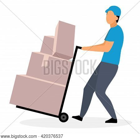Loader Man Moving Dolly Cart Flat Vector Illustration. Warehouse Worker With Packages On Hand Truck