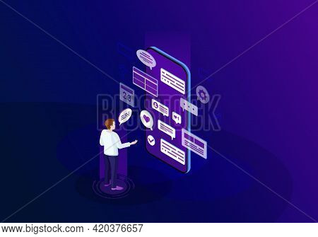 Social Media Isometric Color Vector Illustration. Person Using Smartphone. Online Communication. Smm