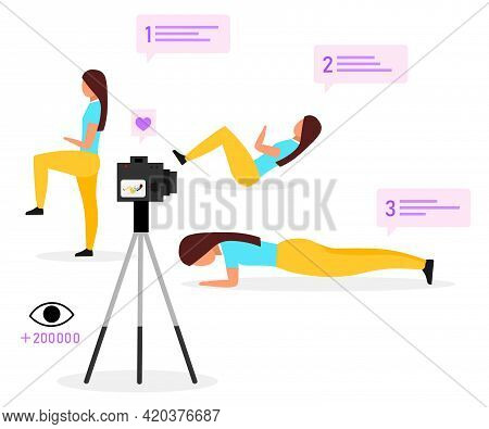 Sports Blogger Flat Vector Illustration. Fitness Trainer, Vlogger Streaming Video. Physical Exercise