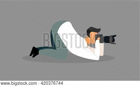 Photographer At Work Flat Vector Illustration. Paparazzi, Reporter With Camera Waiting For Perfect S