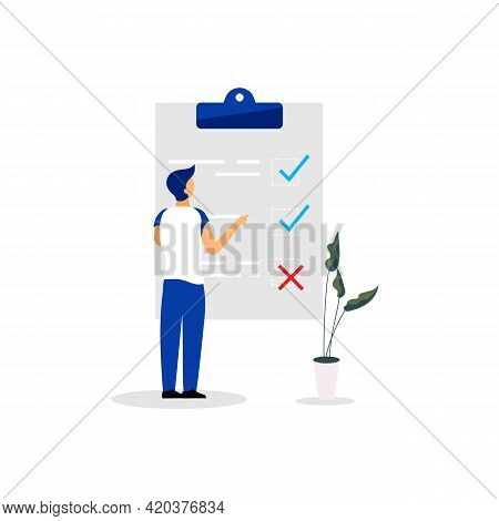 Man, Manager, Male At Checklist Flat Vector Illustration. To Do List, Tasklist Isolated Cartoon Char