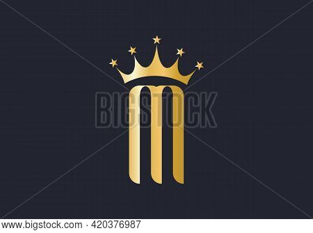 M Logo With Crown. Crown With M Letter And Luxury  Concept