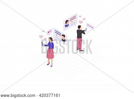 Online Messaging Isometric Color Vector Illustration. Persons Social Network Profile. Chatting, Liki