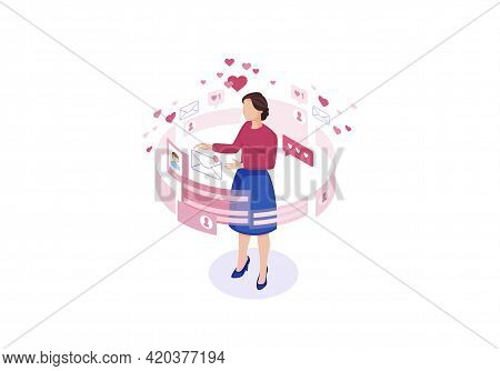 Online Chatting Isometric Color Vector Illustration. Female Getting Message Infographic. Persons Soc