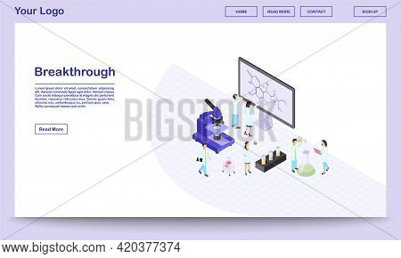 Scientific Breakthrough Isometric Landing Page Template. Chemists, Pharmacologists Excited About New