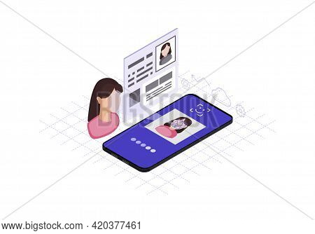 Faceprint Analysis Application Isometric Color Vector Illustration. Facial Recognition Software Info