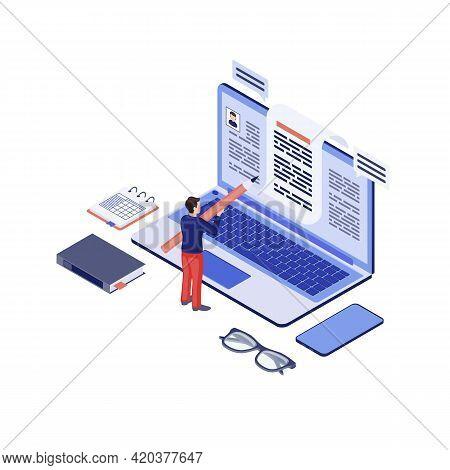 Copywriting Isometric Vector Illustration. Copywriter, Content Writer Creating, Writing Blog Article