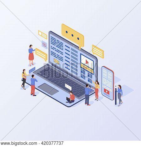 Content Marketing Isometric Vector Illustration. Inbound Marketing Strategy. Smm, Media Advertising,