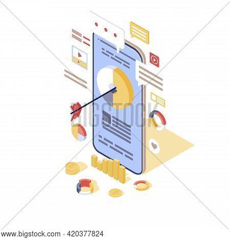 Target Advertising Isometric Vector Illustration. Inbound Digital Marketing 3d Concept. Smm, Media A