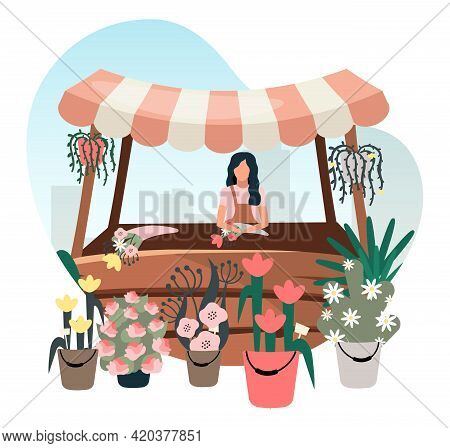 Flowers Market Stall With Seller Flat Illustration. Street Local Store Vendor Selling Houseplants, B