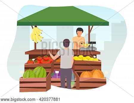 Fruits And Vegetables Market Stall With Seller Flat Illustration. Man Buying Farm Products, Eco And