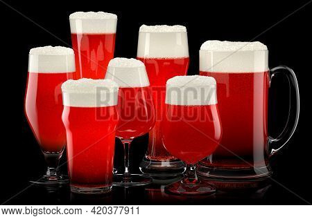 Set Of Fresh Stout Beer Glasses With Bubble Froth Isolated On A Black Background. 3d Rendering Conce
