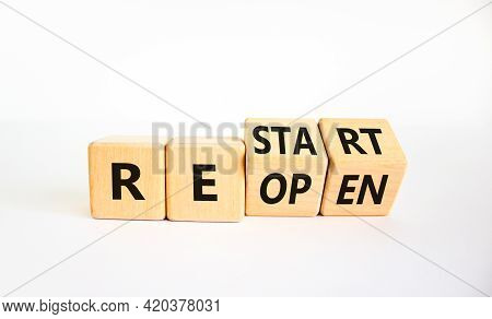 Reopen And Restart Symbol. Turned Cubes And Changed The Word 'reopen' To 'restart'. Beautiful White