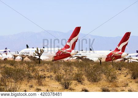 May 12, 2021 In Victorville, Ca:  Qantas A380 Aircraft Stored During The Travel Slowdown Taken At Th