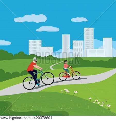 Dad And Daughter Ride Bicycles In City Park Vector. Father, Baby Kid Cute Cartoon Illustration. Fami