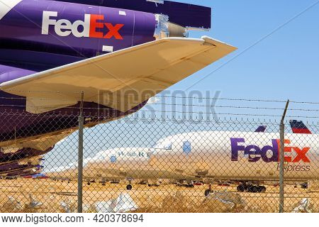 May 12, 2021 In Victorville, Ca:  Retired Dc10 Airliner Aircraft In Storage Taken At The Victorville