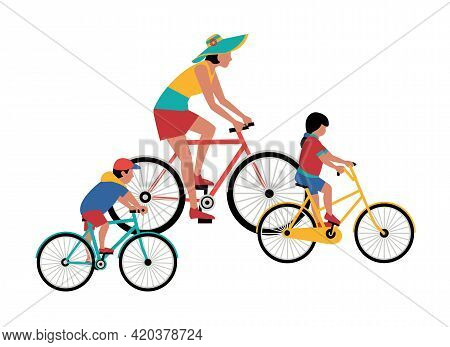 Mom, Kids Ride Bicycle Flat Color Vector Icon. Mother, Baby Girl, Boy Cute Cartoon Design Element. F