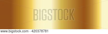 Gold Gradient Long Banner. Golden Foil Brass Material. Copper Paper Sheet Plate. Shine Yellow Border