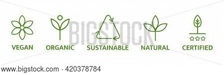 Skincare Symbol. Organic And Natural Cosmetic Line Icons. Allergen Free Badges. Beauty Product. Glut