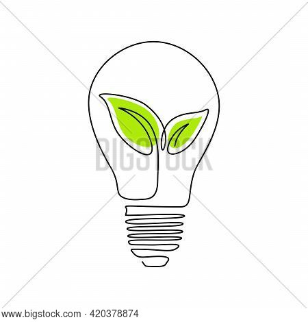 Plant Inside Lightbulb In One Line Drawing. Creative Concept Of Green Energy And Environmental Frien
