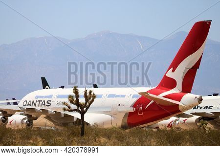 May 12, 2021 In Victorville, Ca:  Qantas A380 Aircraft Temporarily Stored In The Victorville, Ca Air