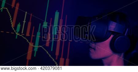 Businesswoman With Vr Headset In Virtual Stock Market.